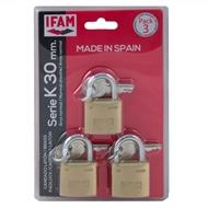 Zámek visací IFAM K 3ks stejný klíč Blistr