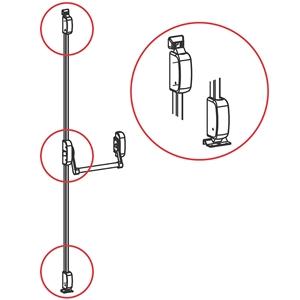 Panikové kování model 400, 3-bodové vertikální, výška dveří max. 2635 mm