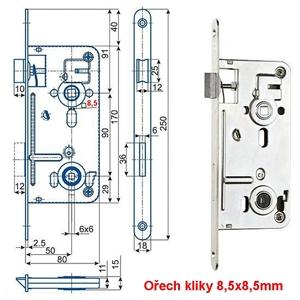 547C/8.5 P-L zámek zadlabací WC 6x6